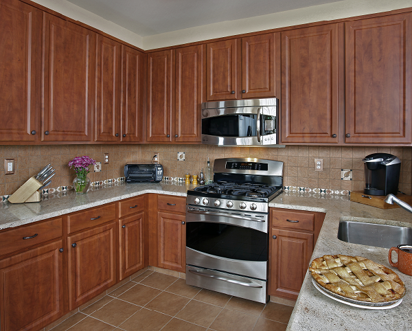 Kitchens With Brown Cabinets And Colored Doors